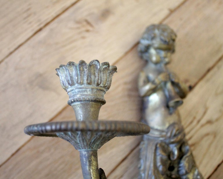 20th Century Antique Brass French Sconce with Cherub For Sale