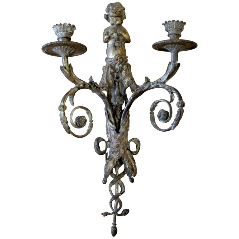 Antique Brass French Sconce with Cherub For Sale
