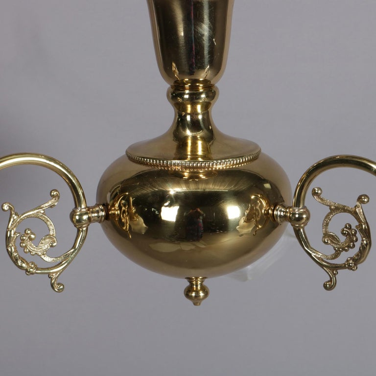 Antique Brass Gas Conversion Style Three-Light and Scroll Arm Chandelier In Good Condition For Sale In Big Flats, NY