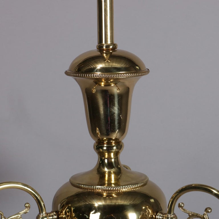 20th Century Antique Brass Gas Conversion Style Three-Light and Scroll Arm Chandelier For Sale