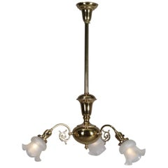 Antique Brass Gas Conversion Style Three-Light and Scroll Arm Chandelier