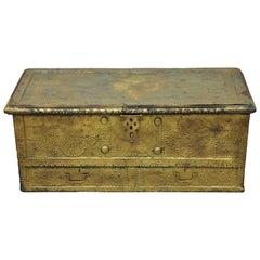 Antique Brass Indian Gothic Mediterranean Dowry Trunk Storage Treasure Chest