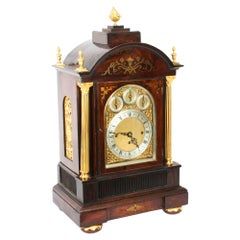 Antique Brass Inlaid Goncalo Alves Musical Boardroom Clock, 19th Century