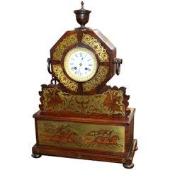 Antique Brass Inlaid Rosewood Mantle Clock