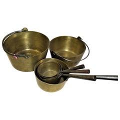 Antique Brass Jam Pots England Steel Handles Set of 6 Pots