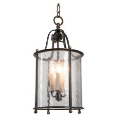 Antique Brass Lantern with Textured Glass Cylinder Attributed to E. F. Caldwell