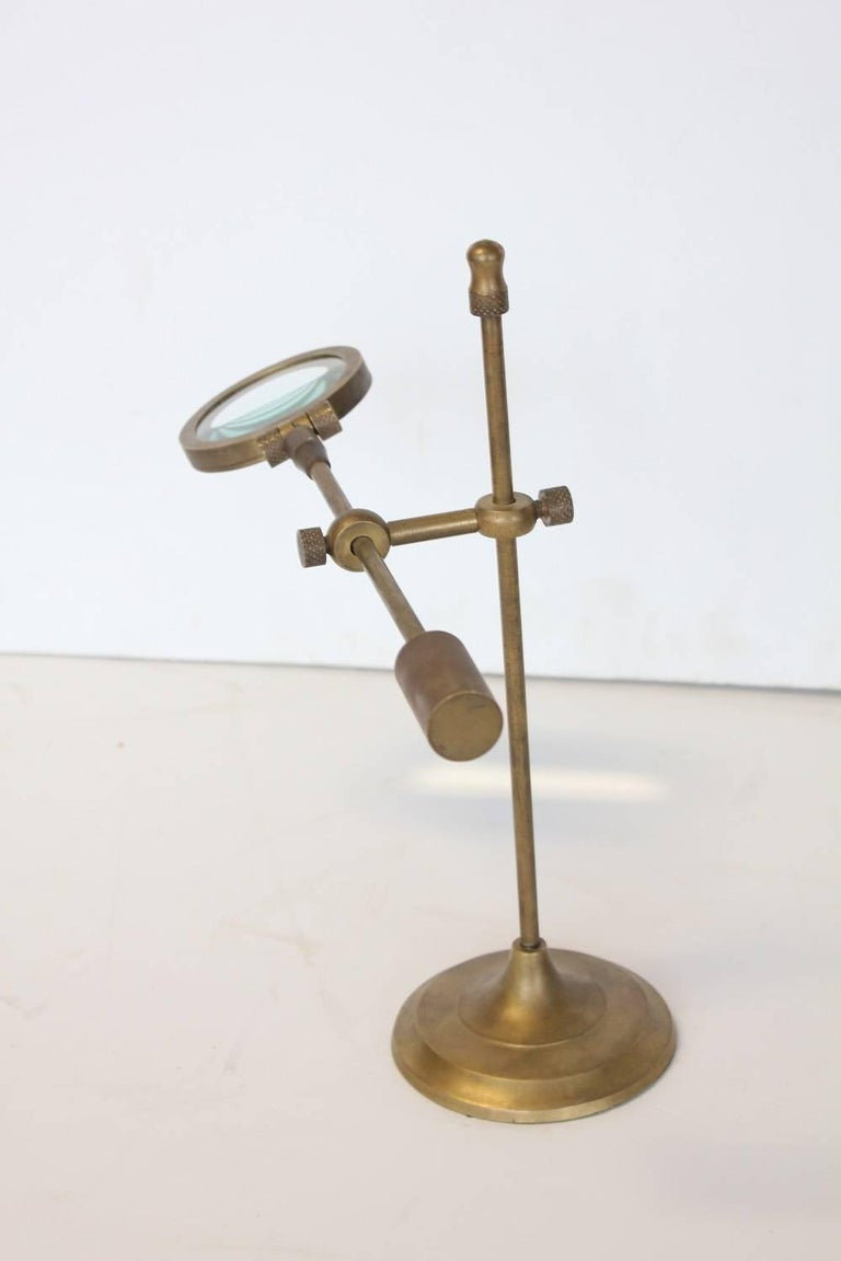 antique brass magnifying glass on stand at 1stdibs