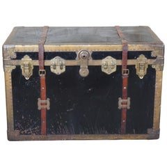 Antique Brass & Metal Victorian Steamer Trunk Wardrobe Travel Chest Foot Locker