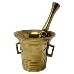 Antique Brass Mortar and Pestle, Circa 1920
