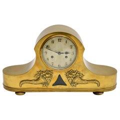 Antique Brass Napoleon Hat Mantel Clock by Junghans