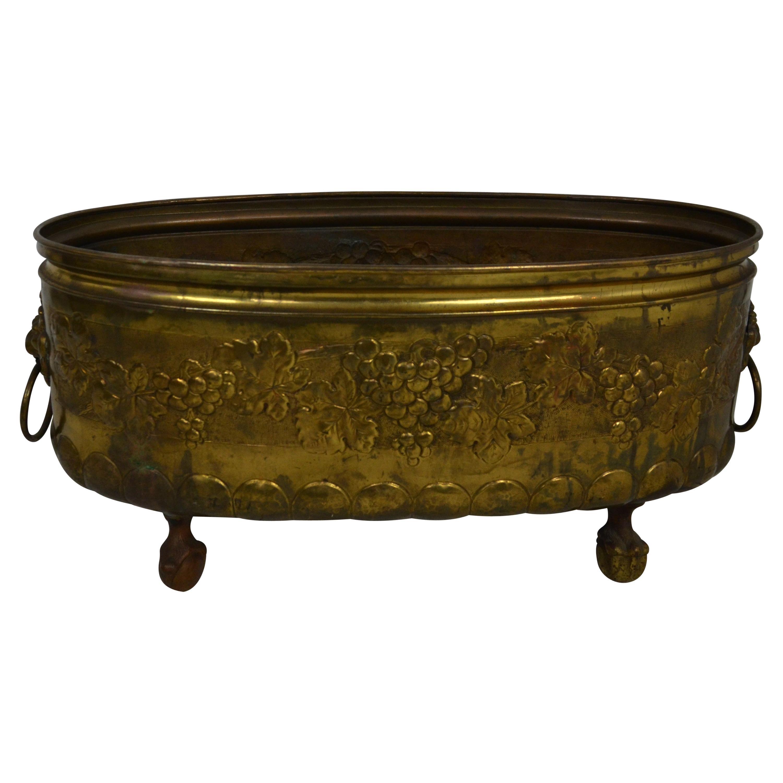 Antique Brass Planter or Log Bin