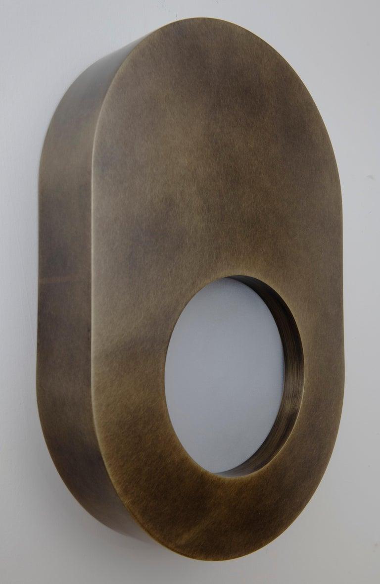 Frosted Antique Brass Portal Sconce Oval by Konekt Furniture