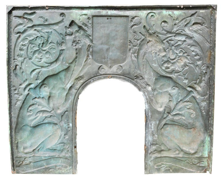 Arts and Crafts Antique Brass Repousse Fireplace Insert For Sale