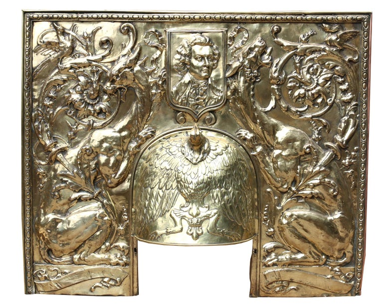 European Antique Brass Repousse Fireplace Insert For Sale