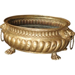 Antique Brass Repousse Jardinière from France, circa 1860