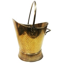 Antique Brass Coal Scuttle for fFireplace