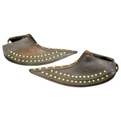 Pair of Brass Studded Leather Tapaderos, Western United States Circa 1930