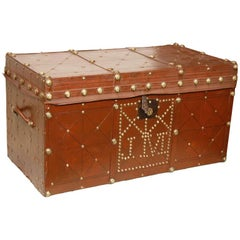 Antique Brass Studded Leather Trunk