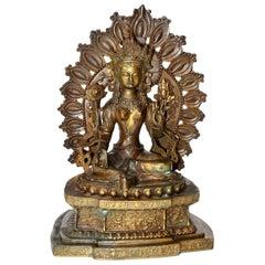 Antique Brass Tibetan Green Tara