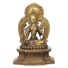 Antique Brass Tibetan White Tara