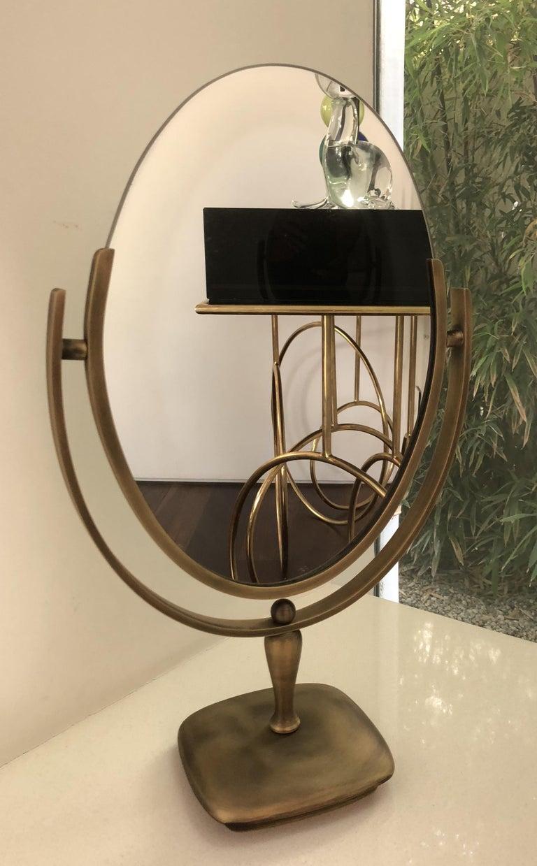 American Antique Brass Vanity Mirror by Charles Hollis Jones For Sale