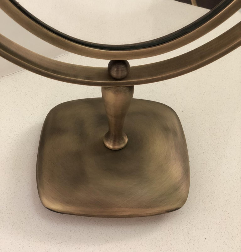 Antique Brass Vanity Mirror by Charles Hollis Jones In Good Condition For Sale In Los Angeles, CA
