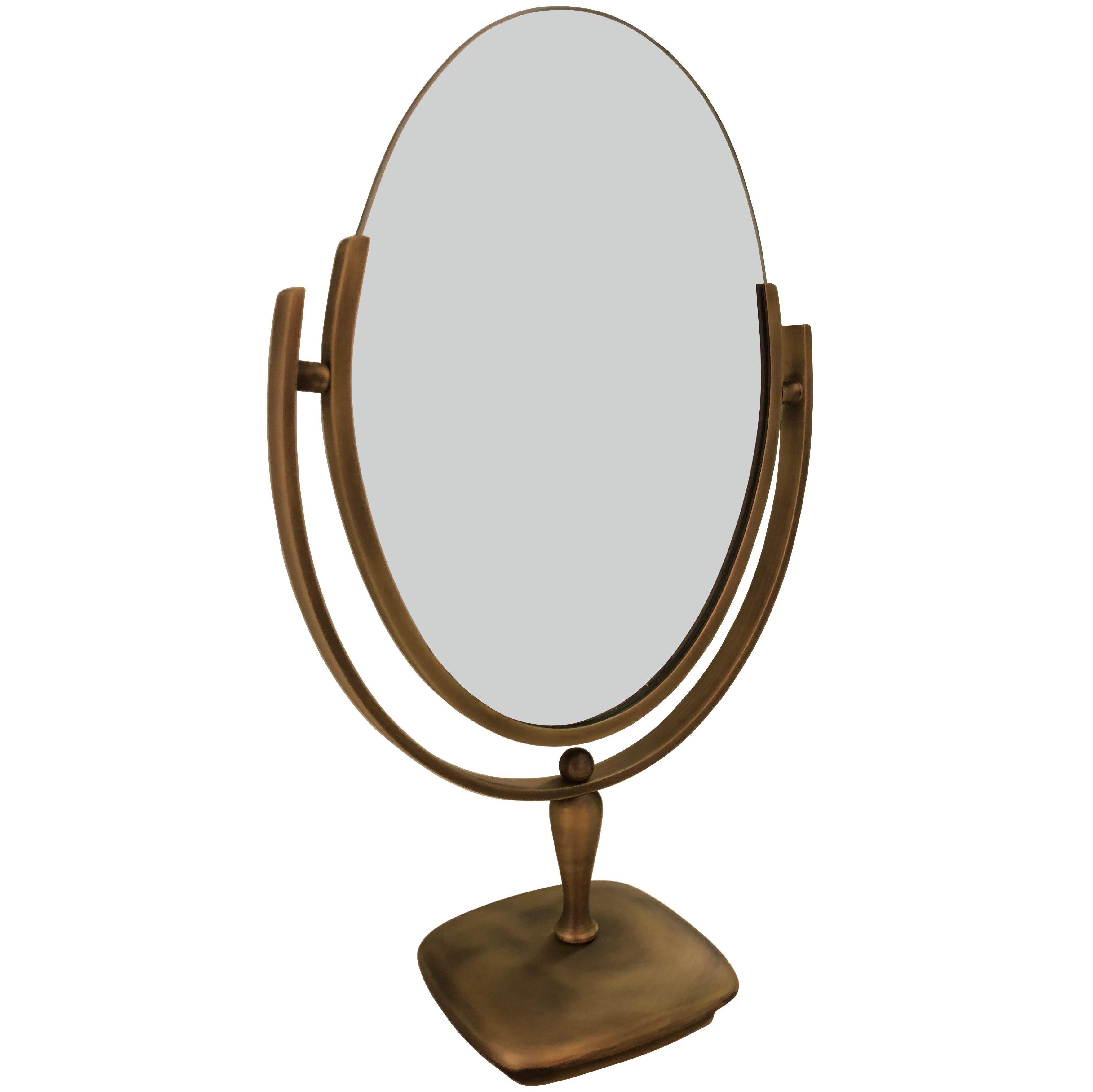 Antique Brass Vanity Mirror by Charles Hollis Jones