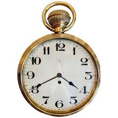 Antique Brass Wall Clock in Running Order, Pocket Watch Style, circa 1890-1900