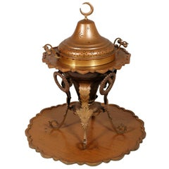 Antique Brazier Heating in Embossed Thick Brass Slab with Cast Bronze Structure