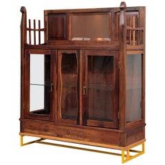 Antique Brazilian Wooden Contemporary Baroque Glass Cabinet, Restauro #1