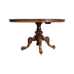 Antique Breakfast Table, English, Walnut, Mahogany, Tilt-Top, Oval, Victorian