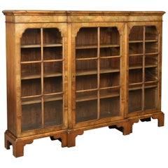 Antique Breakfront Bookcase, Victorian Burr Walnut Glazed Display Cabinet