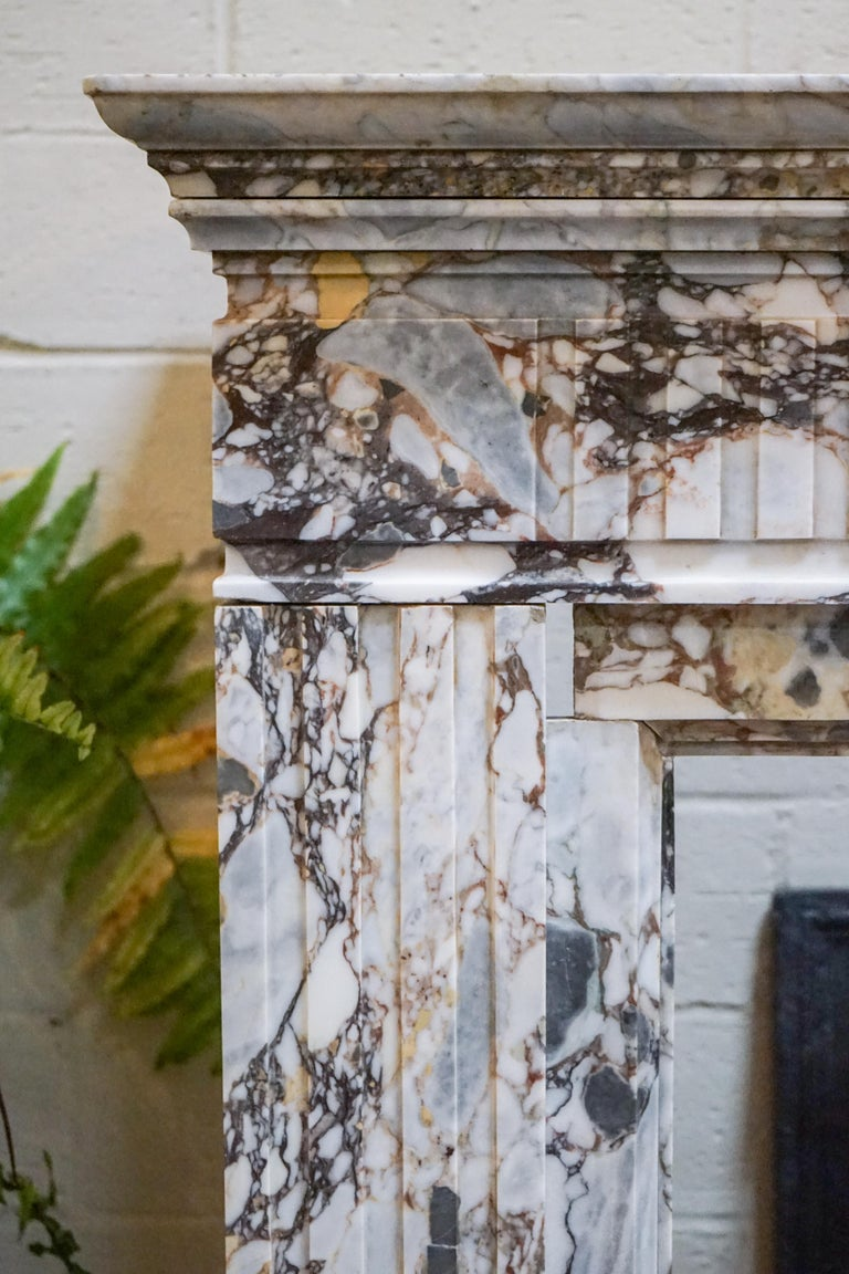 A Breccia Capaira marble fireplace is carved in the style of Louis XVI. 