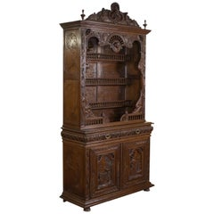 Breton Cabinet, Carved French Sideboard, Oak, Late 19th Century, circa 1880