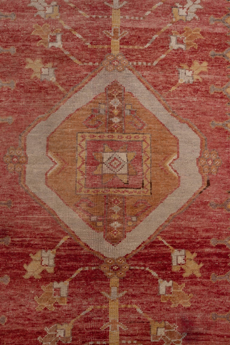 Turkish Antique Bright Oushak Rug, circa 1920s For Sale