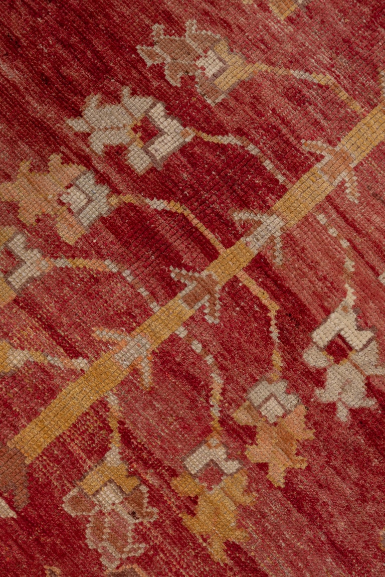 Hand-Knotted Antique Bright Oushak Rug, circa 1920s For Sale