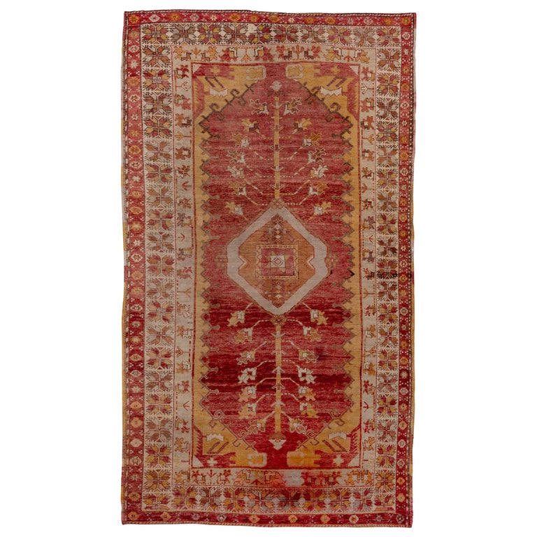Antique Bright Oushak Rug, circa 1920s For Sale