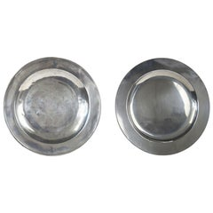 Antique Brightly Polished Pewter Chargers, English, 18th Century