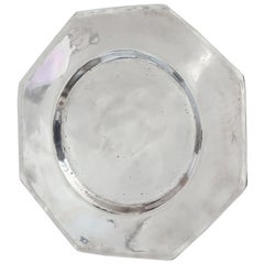 Antique Brightly Polished Pewter Octagonal Plate, 19th Century