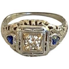 Antique Brilliant Cut Diamond and Heart Cut Blue Sapphire 18 Karat Gold Ring