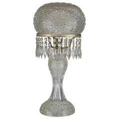 Antique Brilliant Cut Glass Mushroom Parlor Lamp, circa 1920
