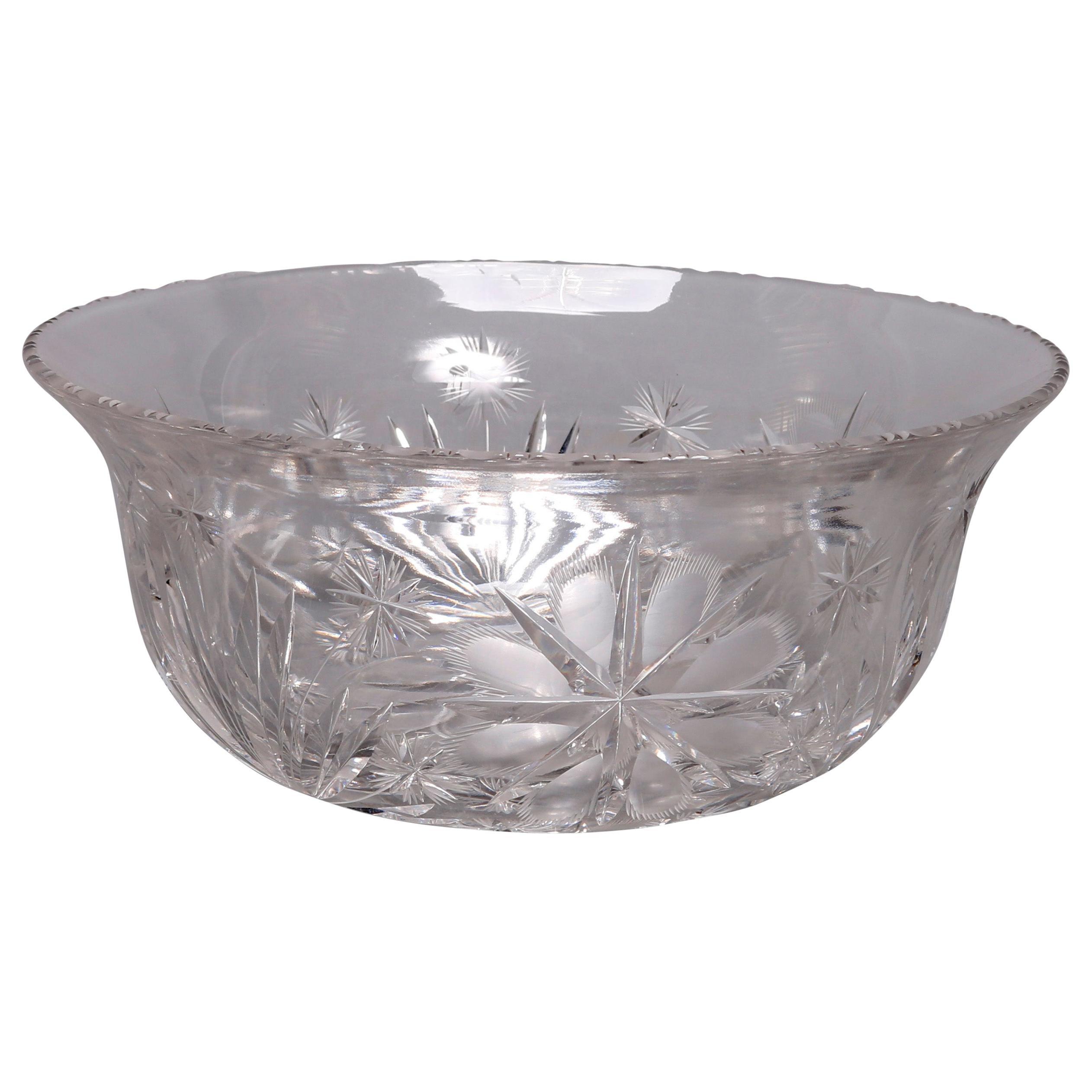 Antique Brilliant Cut Glass Serving Bowl, 20th Century