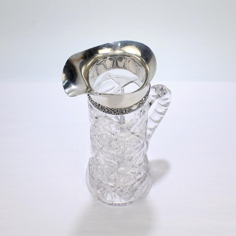 Antique Brilliant Period Sterling Silver Mounted Cut Glass Cocktail Pitcher For Sale 6
