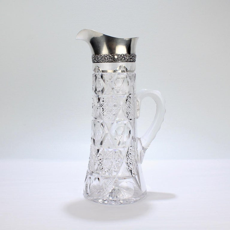 Late Victorian Antique Brilliant Period Sterling Silver Mounted Cut Glass Cocktail Pitcher For Sale