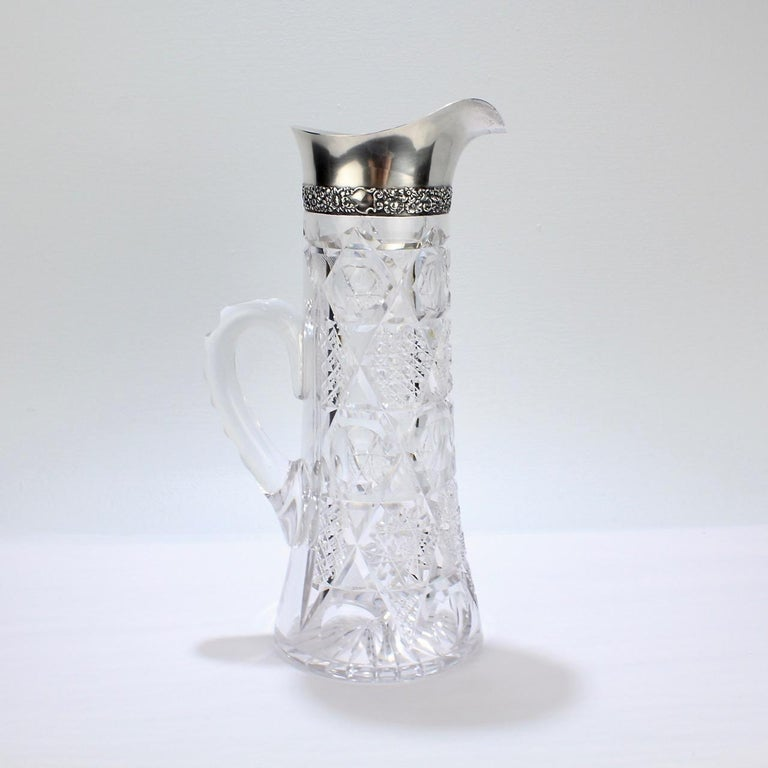 Women's or Men's Antique Brilliant Period Sterling Silver Mounted Cut Glass Cocktail Pitcher For Sale