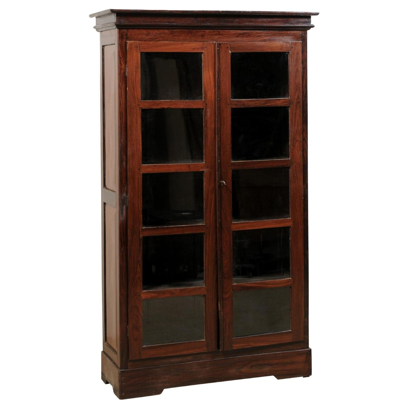 Antique British Colonial Rosewood Cabinet with Glass Panel Doors