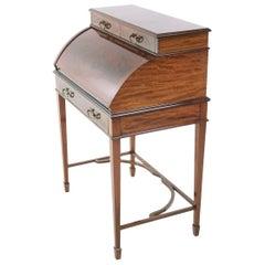 Antique British Edwardian Cylinder Bureau Desk