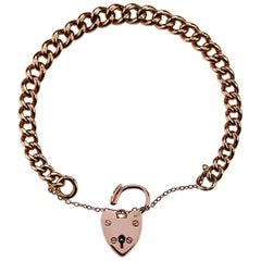 British Hallmarked 1965 Rose Gold Chain Curb Bracelet with Heart Padlock