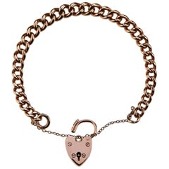 Antique British Hallmarked Rose Gold Chain Curb Bracelet with Heart Padlock
