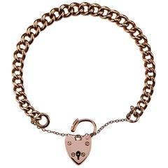 Antique Curb Bracelet, with Padlock in 9K Rose Gold, British Hallmarked 1965